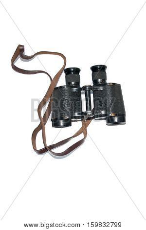 Vintage Retro binoculars with strap. The Second World War military binoculars.