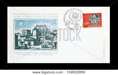 YUGOSLAVIA - CIRCA 1967 : Cancelled First Day Cover Letter printed by Yugoslavia, that promotes Tourism.