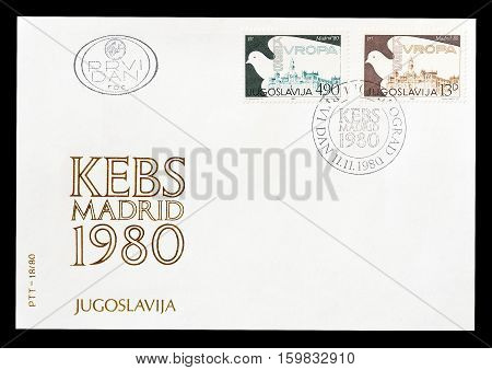 YUGOSLAVIA -CIRCA 1980 : Cancelled First Day Cover Letter printed by Yugoslavia, that shows Madrid.