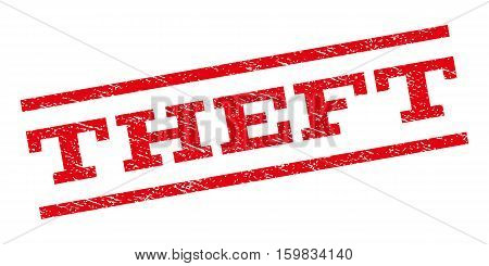Theft watermark stamp. Text tag between parallel lines with grunge design style. Rubber seal stamp with dirty texture. Vector red color ink imprint on a white background.
