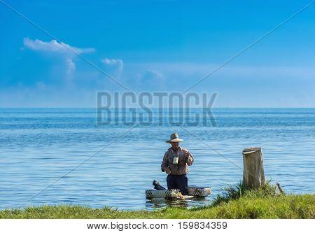 Havana, Cuba - September 12, 2016: Cuban fisher in the countryside from Cuba - Serie Cuba 2016 Reportage