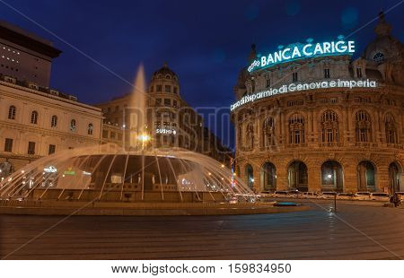 Genoa, Italy - March 26: Twilight photo of Piazza De Ferrari is the main square of Genoa on March 25, 2016 in Genoa, Italy.