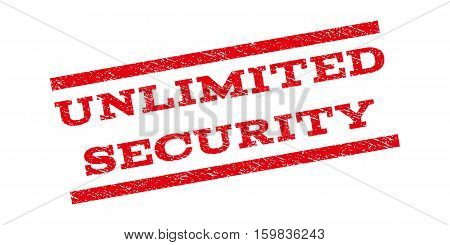 Unlimited Security watermark stamp. Text caption between parallel lines with grunge design style. Rubber seal stamp with dust texture. Vector red color ink imprint on a white background.