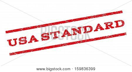 USA Standard watermark stamp. Text caption between parallel lines with grunge design style. Rubber seal stamp with dust texture. Vector red color ink imprint on a white background.