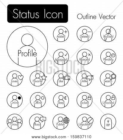 Status icon . Person icon with many status and text
