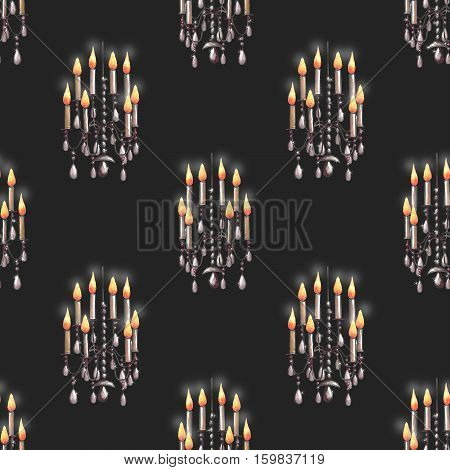Seamless pattern of the chandeliers with candles, hand drawn on a dark background