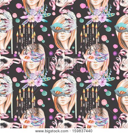 Masquerade theme seamless pattern with female image in a mask, chandeliers with candles and masks in Venetian style, hand drawn on a dark background