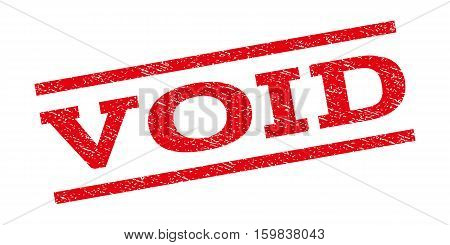 Void watermark stamp. Text caption between parallel lines with grunge design style. Rubber seal stamp with unclean texture. Vector red color ink imprint on a white background.