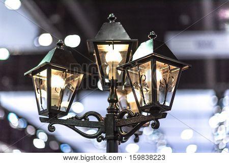 image of Vintage Street Light Lamp at Night