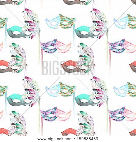 Seamless pattern with masquerade masks in Venetian style, hand drawn on a white background