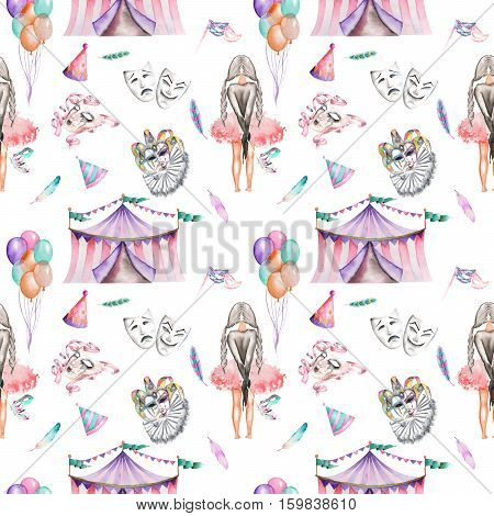 Seamless pattern with circus and masquerade elements, hand drawn on a white background