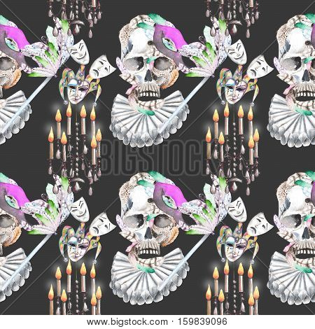Masquerade theme seamless pattern with skulls, chandeliers with candles and masks in Venetian style, hand drawn on a dark background