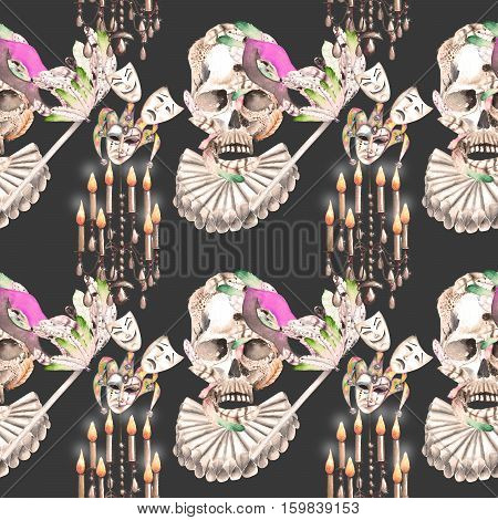 Masquerade theme seamless pattern with skulls, chandeliers with candles and masks in Venetian style, hand drawn on a dark background, in sepia color