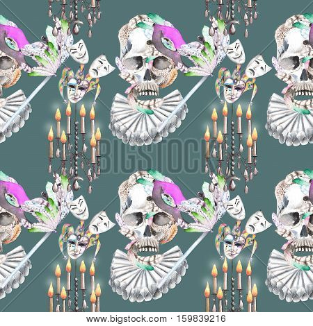 Masquerade theme seamless pattern with skulls, chandeliers with candles and masks in Venetian style, hand drawn on a dark green background