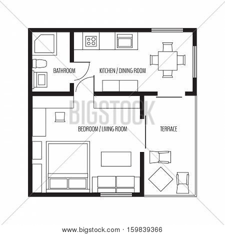 Vector flat projection apartment. Small house plan with furniture. Black and white illustration.