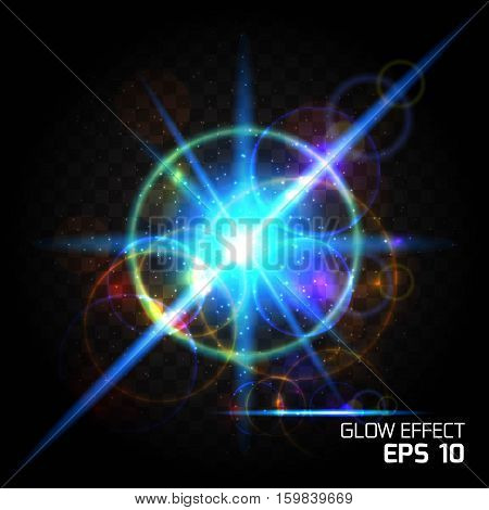 Influence of particle bright light effects blue magic ball. Glow Dust Sparks luxury design bright background glow bright glare lighting effect on clear dark background.