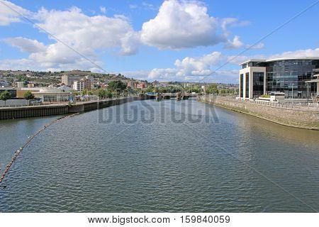 River Tawe in Swansea harbour in Wales