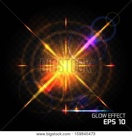 Influence of particle bright lighting effects yellow orange. Glow Dust Sparks luxury design bright background glow bright glare lighting effect on clear dark background.