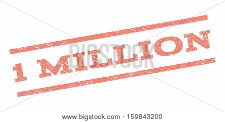 1 Million watermark stamp. Text caption between parallel lines with grunge design style. Rubber seal stamp with scratched texture. Vector salmon color ink imprint on a white background.