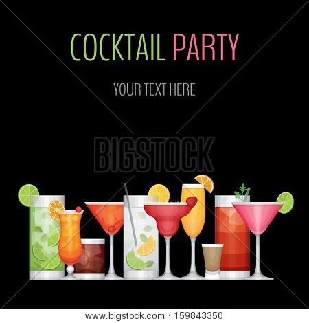 Cocktail party card. Cocktail bar flyer. Flat design style vector illustration.