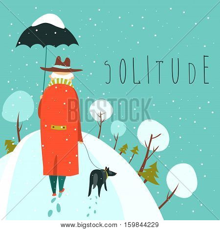 lonely old man walking with dog in a snowy park. Vector illustration