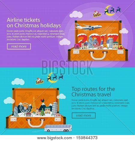 Christmas travel banners in flat style. Traveling by plane and bus. Nature, buildings, village and city in a flat style. The winter vacation. Mountains, buildings, snow. Open suitcase with landmarks