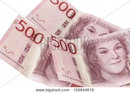 Swedish currency closeup on white background. 500 Kronor