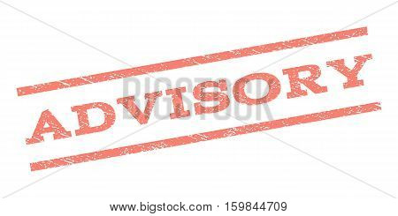 Advisory watermark stamp. Text tag between parallel lines with grunge design style. Rubber seal stamp with scratched texture. Vector salmon color ink imprint on a white background.