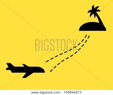 Plane with dotted line and island with palm tree. Flat style.