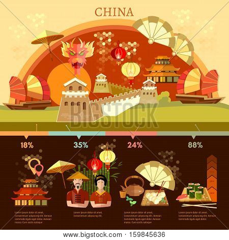 China infographics culture and traditions china vector illustration
