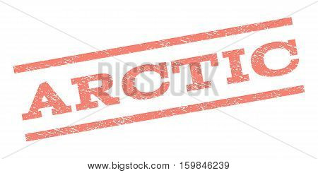 Arctic watermark stamp. Text caption between parallel lines with grunge design style. Rubber seal stamp with dust texture. Vector salmon color ink imprint on a white background.