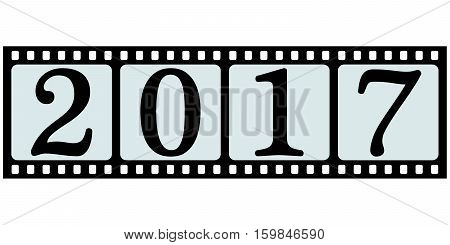 banner stripes movie 2017 movie photo film for pictures with text 2017, a congratulatory banner with new year and Christmas, vector concept