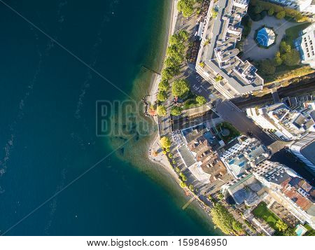 Aerial View Of Montreux Waterfront, Switzerland