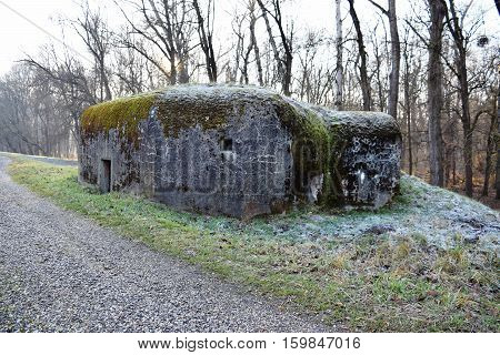 Small concrete military bunker . World War II. Slovak Republic