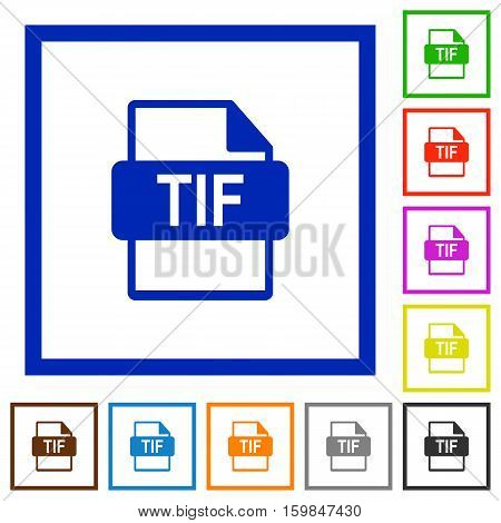 TIF file format flat color icons in square frames