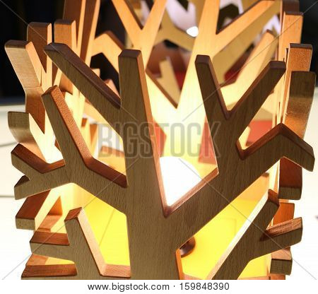 lamps with wooden lampshade in the form of branches