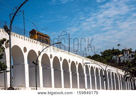 RIO DE JANEIRO FEBRUARY 19 2016 - After many years in Rio de Janeiro again have launched a famous tram from Lapa to Santa Teresa district Rio de Janeiro Brazil