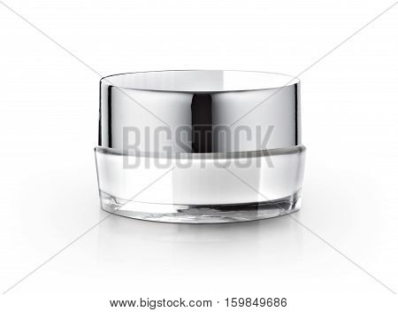 White & Silver cosmetic jar on white background