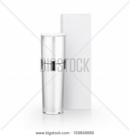 White cosmetic bottle & Box on white background