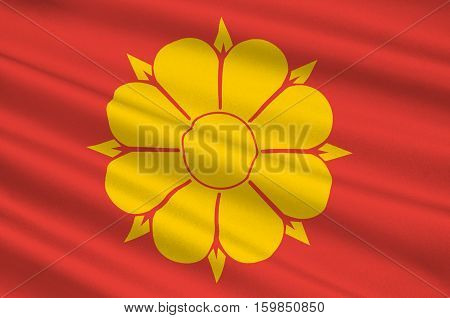 Flag of Trondheim is a city and municipality in Sor-Trondelag county Norway. 3d illustration