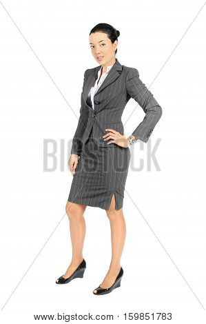 Full length portrait of beautiful businesswoman in isolated on white background