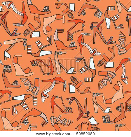Seamless fashion pattern on orange background. Lots of various flat doodle sandals on high platforms and heels. Beautiful colorful footwear hand drawn good for wrapping paper and other design.