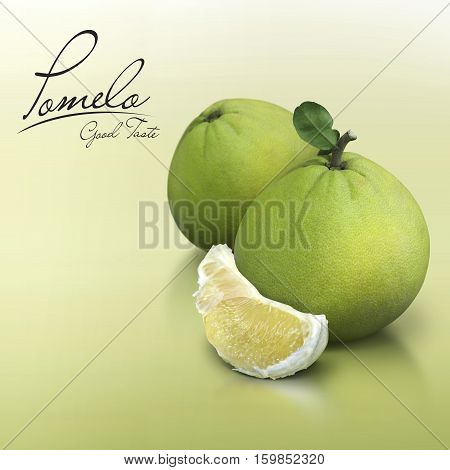 Pomelo on green solid background with text