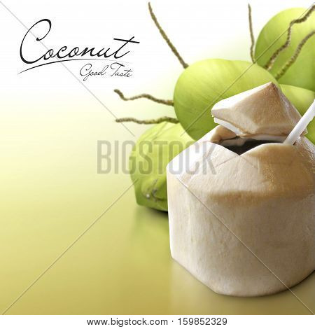 Young coconut on solid background with text