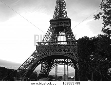 The Eiffel tower in Paris, France, Black-and-white photo