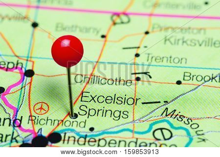 Excelsior Springs pinned on a map of Missouri, USA