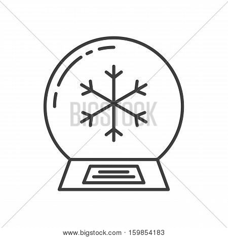 Snow globe linear icon. Thin line illustration. Water globe with snowflake inside contour symbol. Vector isolated outline drawing