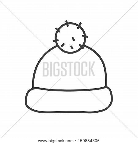 Winter hat with pom pom linear icon. Thin line illustration. Ski cap contour symbol. Vector isolated outline drawing