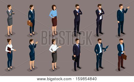 People Isometric 3D isometric businessmen and business woman business clothes human movement. Concept isolated on a dark background of a noble.