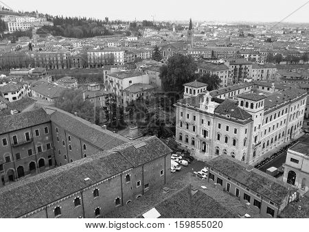 Beautiful Cityscape of Verona Old Town in Monotone, Northern Italy